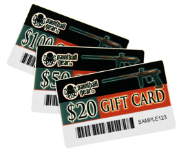 Paintball Gear Gift Certificate Cards