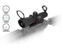 NcSTAR 4X32 Rubber Compact w/Red Laser/Blue Ill./P4 Snper/Grn Lens/Quick Release
